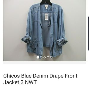 Chicos front draping lt weight denim jacket